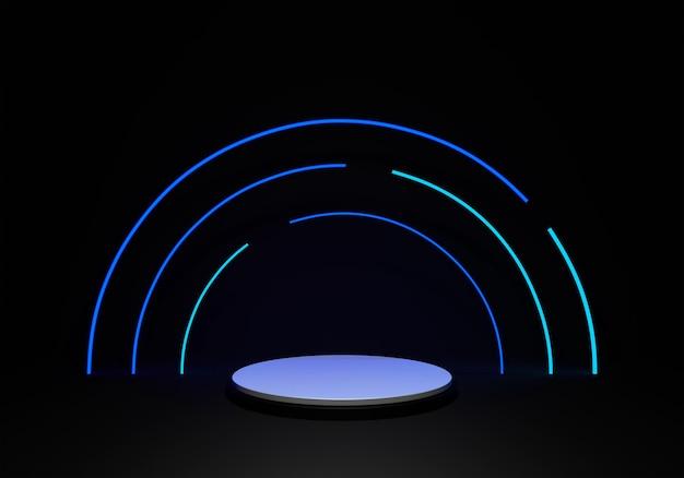 Blauwe neon achtergrond 3d render ontwerp