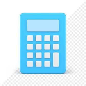 Blauwe rekenmachine pictogram 3d render. elektronische blauwe gadget met witte knoppen. financiële en economische informatica voor de boekhouding. volumetrische apparaat voor wiskundige berekeningen.