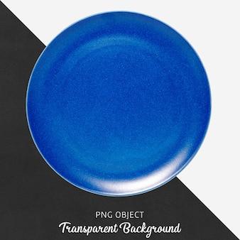 Blauwe ronde keramische plaat op transparante achtergrond