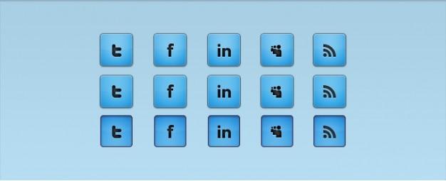 Blauwe social media iconen