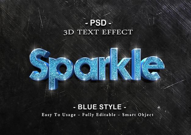 Blauwe sparkle teksteffect sjabloon