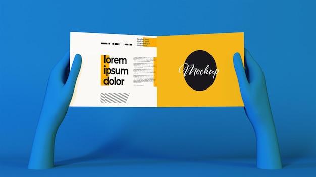 Blauwe surrealistische handen met een tweevoudig brochure mockup-ontwerp