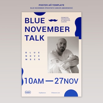 Blauwe verticale afdruksjabloon voor november