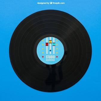 Blauwe vinyl mockup