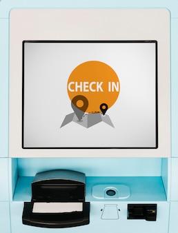 Blauwe vlucht check-in kiosk scherm mockup