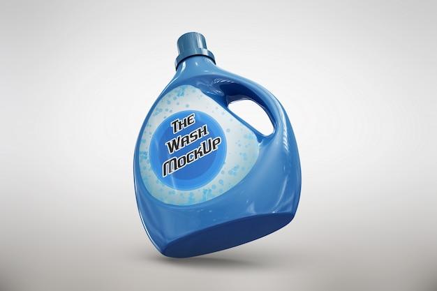 Blauwe wasmiddel verpakkingen bespotten