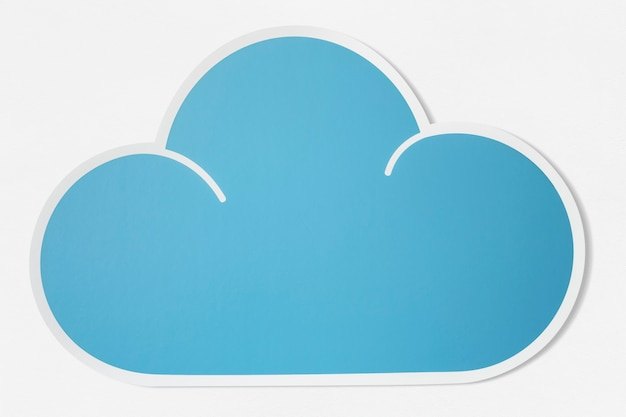 Blauwe wolk uitgesneden pictogram