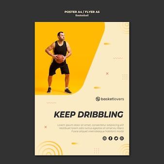 Blijf dribbelen basketbal flyer sjabloon