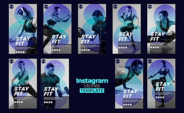 Blijf fit concept instagram verhalen sjabloon