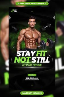 Blijf fit, niet nog steeds fitness facebook en instagram verhaalsjabloon