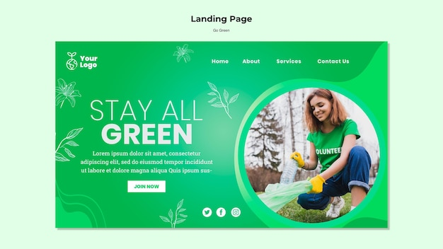 Blijf op de sjabloon voor alle groene bestemmingspagina's