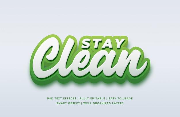 Blijf schoon 3d-tekststijleffect