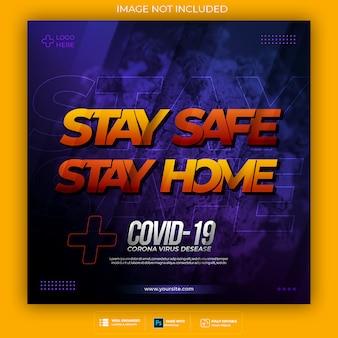 Blijf thuis blijf veilig corona-virus 3d-tekststijleffect