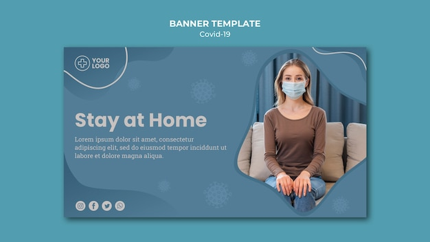 Blijf thuis coronavirus concept banner