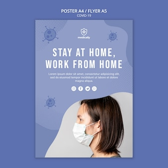 Blijf thuis coronavirus poster sjabloon