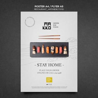 Blijf thuis en eet sushi poster afdruksjabloon