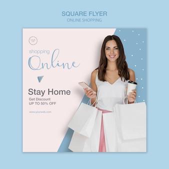 Blijf thuis winkel online vierkante flyer-sjabloon