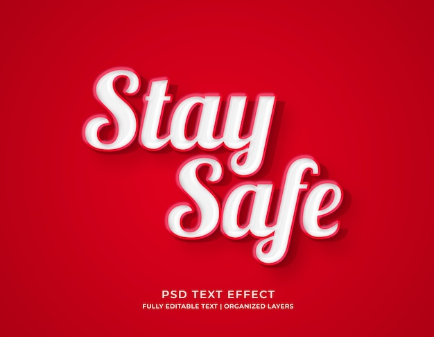 Blijf veilig rode mockup teksteffectsjabloon
