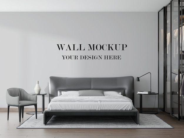 Blinde muur van prachtige moderne zwart-witte slaapkamer in 3d-rendering
