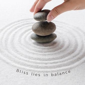 Bliss balance bienestar plantilla psd publicación mínima en redes sociales