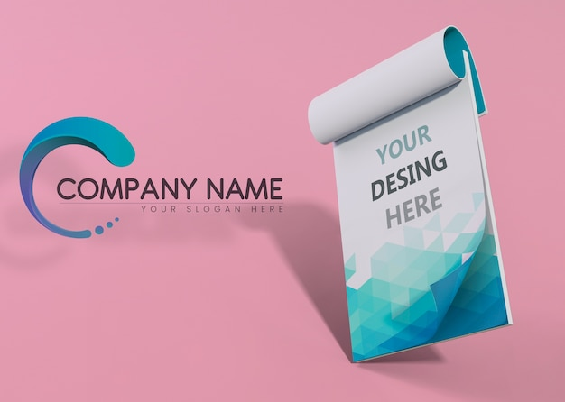 Bloc de notas azul marca empresa negocio maqueta papel