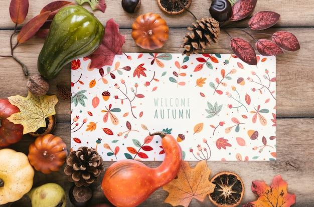 Bloc de notas colorido con bienvenida cita de otoño