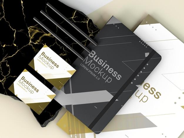 Bloc de notas y tarjetas de maqueta de papelería comercial