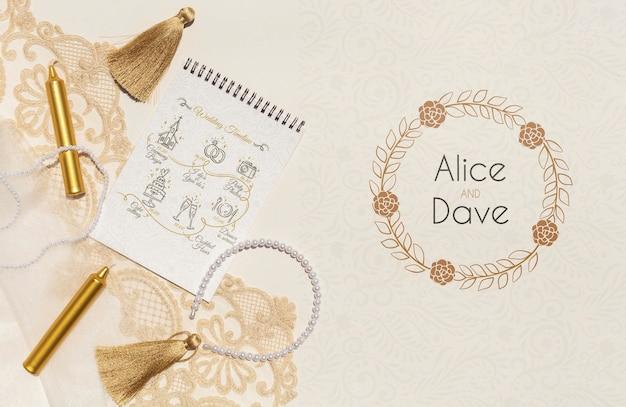 Bloc de notas con vista superior de ideas de boda