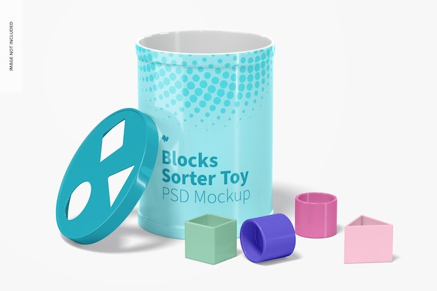 Blocks sorter toy mockup, geopend