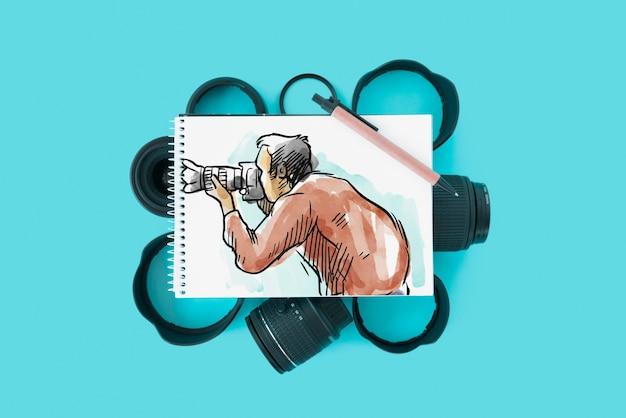 Blocnotemodel met fotografieconcept