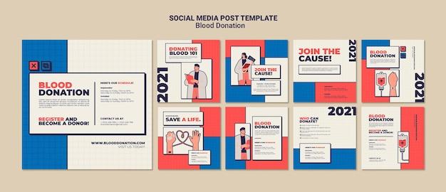 Bloeddonatie social media post sjabloonontwerp