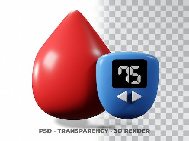 Bloeddruppels illustratie wereld diabetes dag, bloeddonor dag 3d-modellering met transparantie achtergrond
