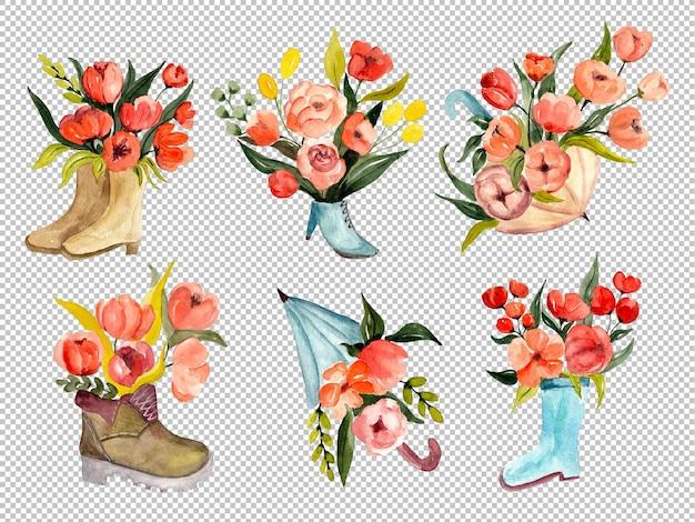 Bloeiende rode bloemen in paraplu's en laarzen aquarel illustratie