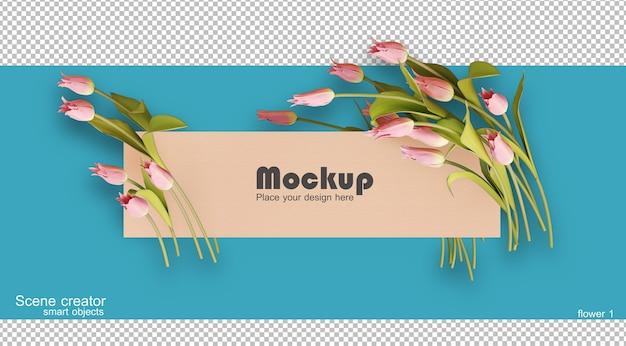 Bloem frame voor decoratie 3d-rendering geïsoleerd
