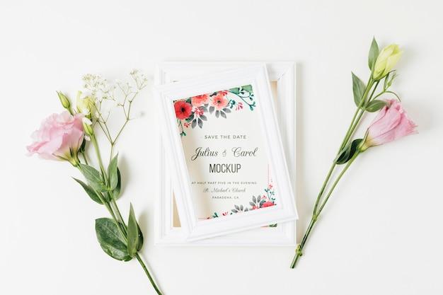 Bloemen bruiloft concept mock-up