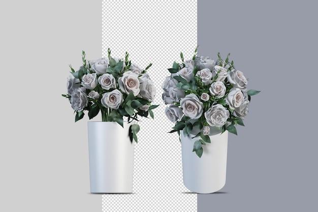 Bloemen in vaas in 3d-rendering geïsoleerd