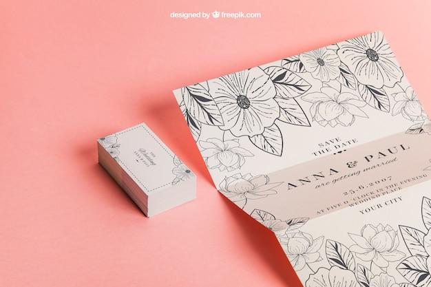 Bloemen trouwuitnodiging en kaarten