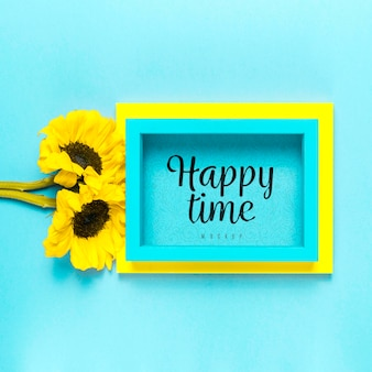 Bloemenassortiment happy time mock-up
