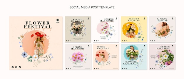 Bloemenfestival sociale media postsjabloon