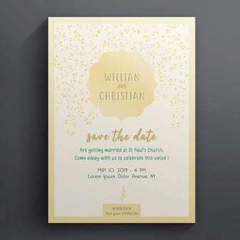 Bloemenhuwelijk en uitnodigingskaartsjabloon