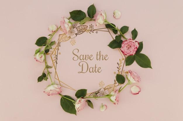Bloemenkroon bewaart de datum met rozen