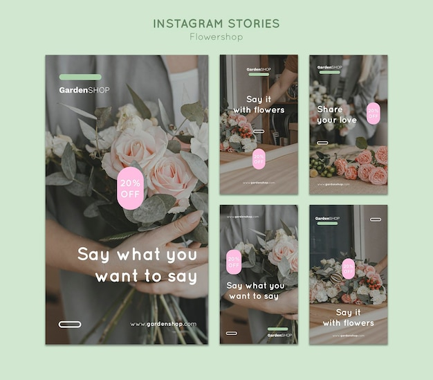 Bloemenwinkel instagram verhalen set