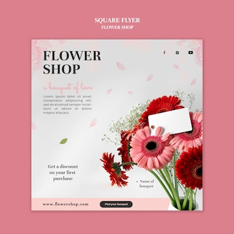 Bloemenwinkel vierkante flyer-sjabloon