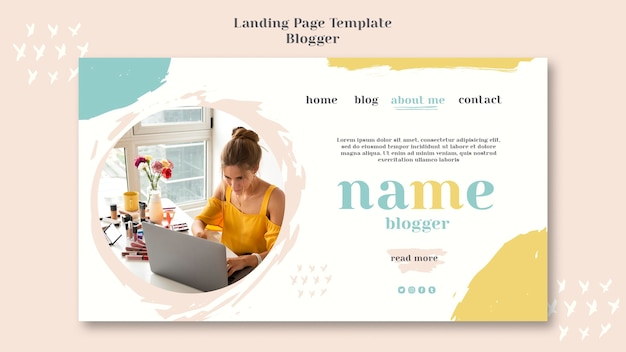 Blogger concept bestemmingspagina ontwerp