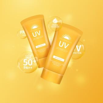 Bloqueador solar para la protección solar de verano, objetos cosméticos.