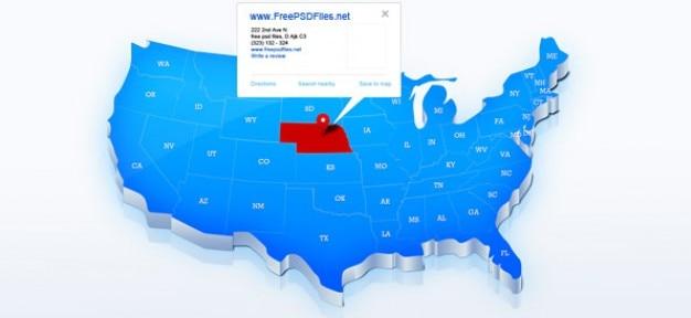 Blu mappa di stati uniti