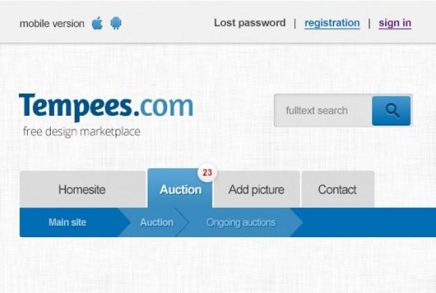 Blu web intestazione con barra di ricerca