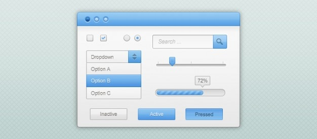 Blue and white gui kit (psd)