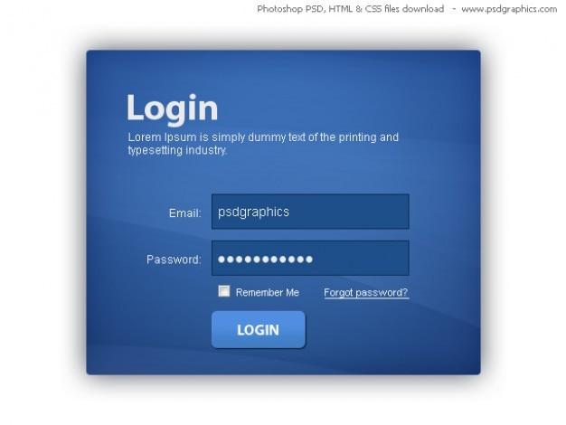 Blue box di login, html e css con template psd