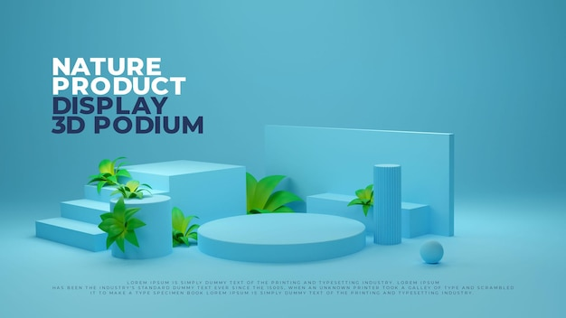 Blue nature plant 3d realistisch podium product promo display